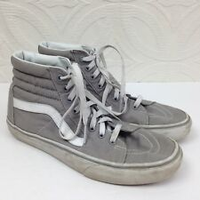 Men's Vans Gray Hi-Top Skateboarding Skate Lace Up Canvas Shoes Sneakers Size 8