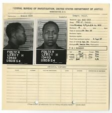 Police Booking Sheet - Leroy H. Foster - FBI, Washington, DC - Missouri - 1953