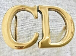 """Authentic CHRISTIAN DIOR """"Saddle"""" Shiny Gold Belt Buckle Accessory France"""