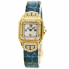 CARTIER PANTHERE SM Diamond Art Deco Watches  K18 Yellow Gold/Leather Ladies