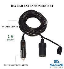 12-24V 10A Power Motorcycle Car Cigarette Lighter Socket Plug Extension 3M Cable
