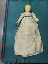 "Antique Toys Hand Painted Composite? Girl Doll Parts Losses ~14"" Victorian Dress"