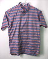Peter Millar Shirt Mens  Polo Short Sleeve Pink Blue Striped Size L