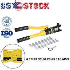 Hydraulic Crimper Crimping Tool/w 9 Dies Wire Battery Cable Lug Terminal 10 Ton