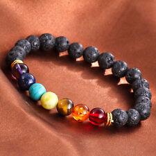 High Quality Elegant Lava Rock Beaded Yoga Gemstone Bracelets Mala Energy D FQB