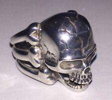 Vintage Large Sterling Silver Skull & Bones Biker Modernist 3D Ring Pirate 925