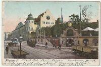 """Ansichtskarte München - """"Münchner-Kindl-Keller"""" - Strassenbahn/Kutschen - 1902"""