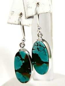 Sterling Silver Tibetan Turquoise Earrings Handmade One of a Kind