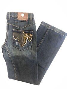 NWT Men's ANTIK Denim *BOOTCUT Jeans Dark Blue W Rivets & Studs Size: 32 - 40