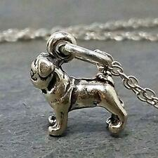 Tiny Pug Necklace - 925 Sterling Silver - 3D Dog Puppy Charm Jewelry NEW