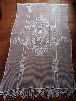 Ancien PANNEAU RIDEAU fait main crochet coton blanc 125 x 193 cm TBE