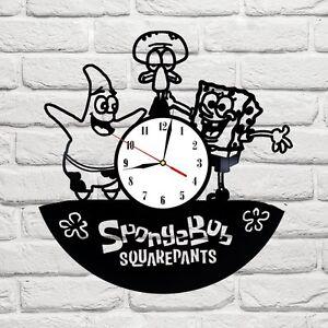 SpongeBob 1 design vinyl record clock home decor art gift hobby playroom office