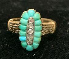 Victorian 14k rose gold turquoise & diamond ring, rose cut diamonds, old ring