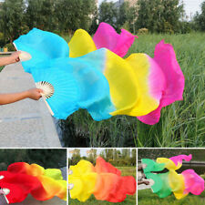 Long Tail Gradient Costume Perform Bamboo Silk Folding Dance Hand Hold Fan 13Us