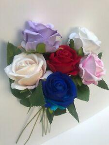 10 Bunch Velvet Roses & Rose Buds, Artificial Luxury Silk Flowers