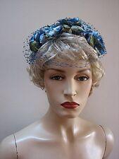 VINTAGE STRADDLE FLORAL HAT w/ VEIL,  BLUE WHITE & GREEN lovely #1614