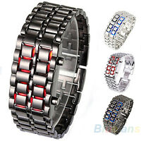 Mens Womens Foxy Lava Iron Samurai Metal LED Faceless Bracelet Watch Wristwatch