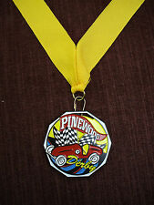 colorful pinewood racing medal yellow neck drape cub scout derby