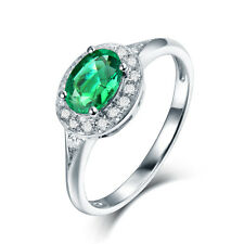 14K White Gold Natural Emerald & Diamond Engagement Vintage Ring