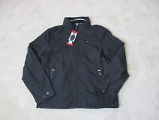 NEW Tommy Hilfiger Jacket Adult Medium Black Gray Flag...