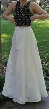 Xscape 2 pc formal/prom dress ivory skirt black beaded crop top size 4