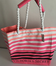 Victoria's Secret Large Tote Bag Pink Striped Canvas Beach Summer Pool 16 X 19