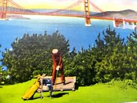 Vintage California Postcard - Linen - Golfing by the Golden Gate Bridge     C225