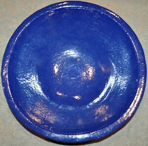 """ETHAN ALLEN 17"""" GRANDE BLUE BOWL~GLAZED EARTHENWARE~UNIQUE~IMPORTED FROM USA"""