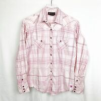 Ariat Women's Pearl Snap Western Top Large Pink Plaid Long Sleeve Cotton