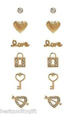 SET OF 6 GUESS GOLD TONE EARRINGS;LOVE,HEART,PADLOCK,HEART KEY+RHINESTONE STUDS