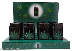 Metall Gas Feuerzeug Lighter mit Motiv Design Hanf Cannabis Blatt NEU