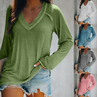 Women Long Sleeve V Neck T-Shirt Casual Solid Loose Baggy Tunic Fall Tops Blouse