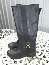 FOOT CUSHION BLACK LEATHER KNEE HIGH BOOTS SIZE 3 UK BRAND NEW SIDE ELASTIC