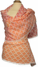 Schal  Rot Orange 100% Baumwolle Häkelborte scarf  cotton summer Red crochet