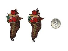 #4500 Lot 2Pcs Fall Fruits w/Basket Embroidery Iron On Applique Patch