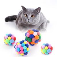 1 x Pet Cat Toy Colorful Handmade Bells Bouncy Ball Built-In Catnip Interactive