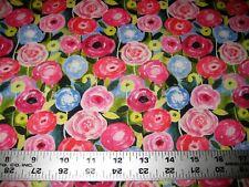 1/4 Yard Blue Yellow Pink Flower Garden Floral Fabrics Quilting 100% Cotton