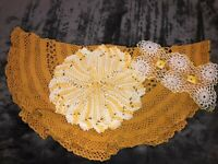 Vintage MCM Hand Crocheted Doilies Lot of 3 Cotton Yellow Gold Large One As Is