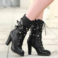 Womens Rivet Studded High Heel Mid Calf Buckle Lace Up Gothic Zipper Boots Shoes