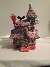 CERAMIC GLITTERED SPOOKY HALLOWEEN HOUSE COMES WITH BATTERY LIGHTED VOTIVE CUTE