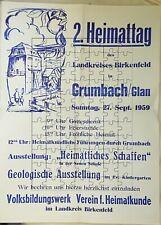 Plakat  2.Heimattag des Landkr. Birkenfeld 1959 in Grumbach/Glan Rheinland-Pfalz