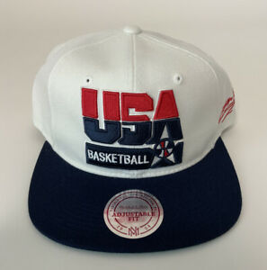 Mitchell & Ness USA Basketball Dream Team Mens Adjustable White Snapback Hat NEW