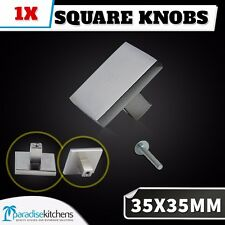 1x 35x35 brushed stainless steel square knobs cabinet handles kitchen door