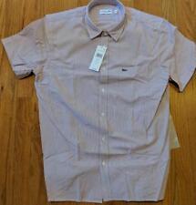 Authentic Lacoste Seersucker Striped Button Up SS Woven Shirt Toreador Red 44 XL