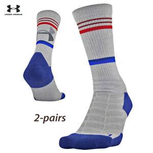 UA Socks: 2-PAIR Training Novelty Crew (L) Halo Gray