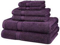 6 Piece Bath Towel Set 100% Egyptian Cotton 725 Gram 10 Colors Luxurious Towels
