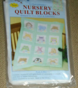 Nursery Quilt Blocks stamped for cross stitch embroidery JDNA