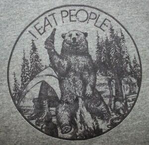 I EAT PEOPLE  Bear Graphic  Hoodie Sweatshirt Medium, Gray