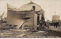Real Photo Postcard Burlington Depot After Cyclone in Louisville Nebraska~110631