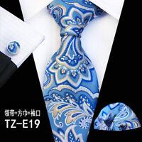Men's 100% Silk Tie Wedding JACQUARD Blue Paisley Pocket Square Cufflink Set